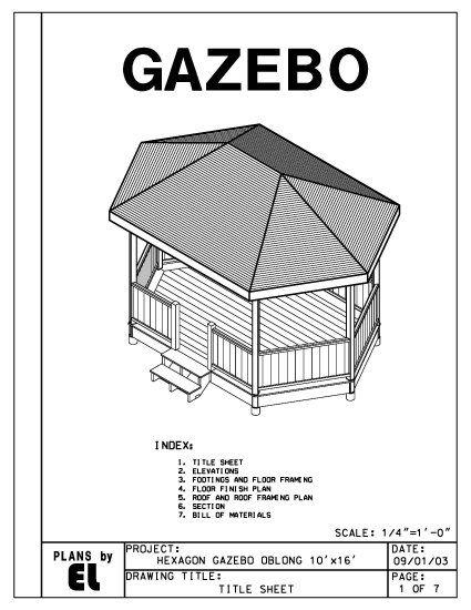 Hexagon Oblong 6 Sided Gazebo Building Plans Blueprints 10 X 16