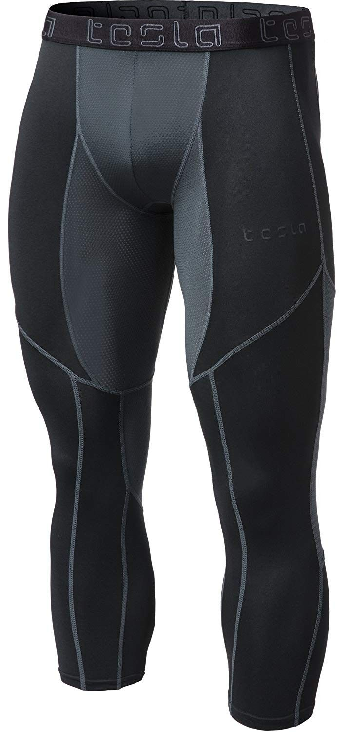 Men's Compression 3/4 Capri Shorts Baselayer Cool Dry Sports Tights MUC78 / P15 - Z28-TM-MUC78-BKH -...