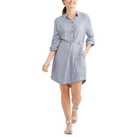 14e050e7ca58 Time and Tru Women s Lyocell Belted Shirt Dress