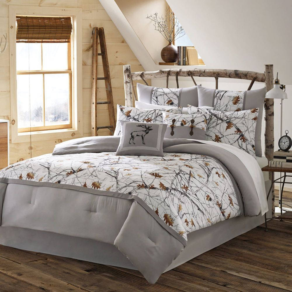 Queen 4pc White Camo Bedding Set Grey Nature Print Rustic Country