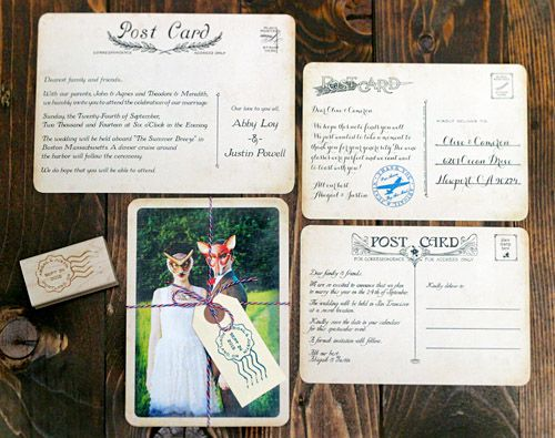 vintage postcard wedding invitations from royal steamline - Postcard Wedding Invitations
