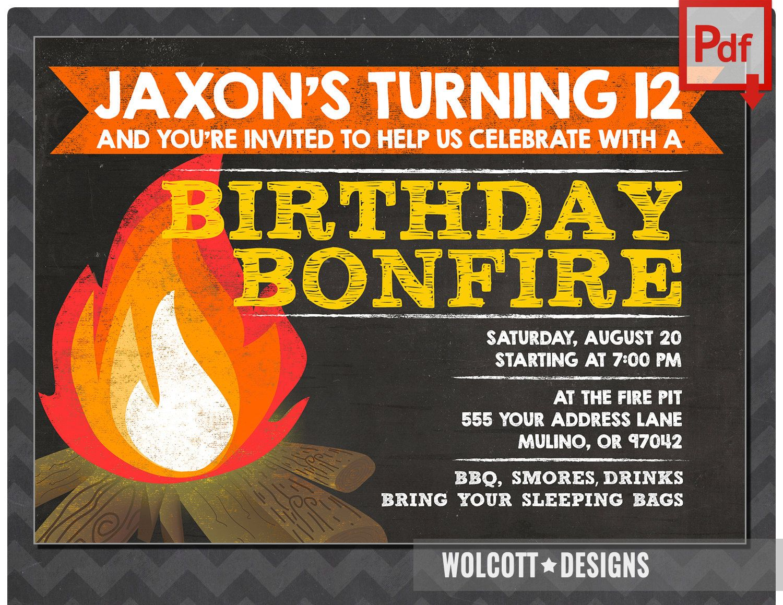bonfire invitation, camp invitation, bonfire party invitations ...