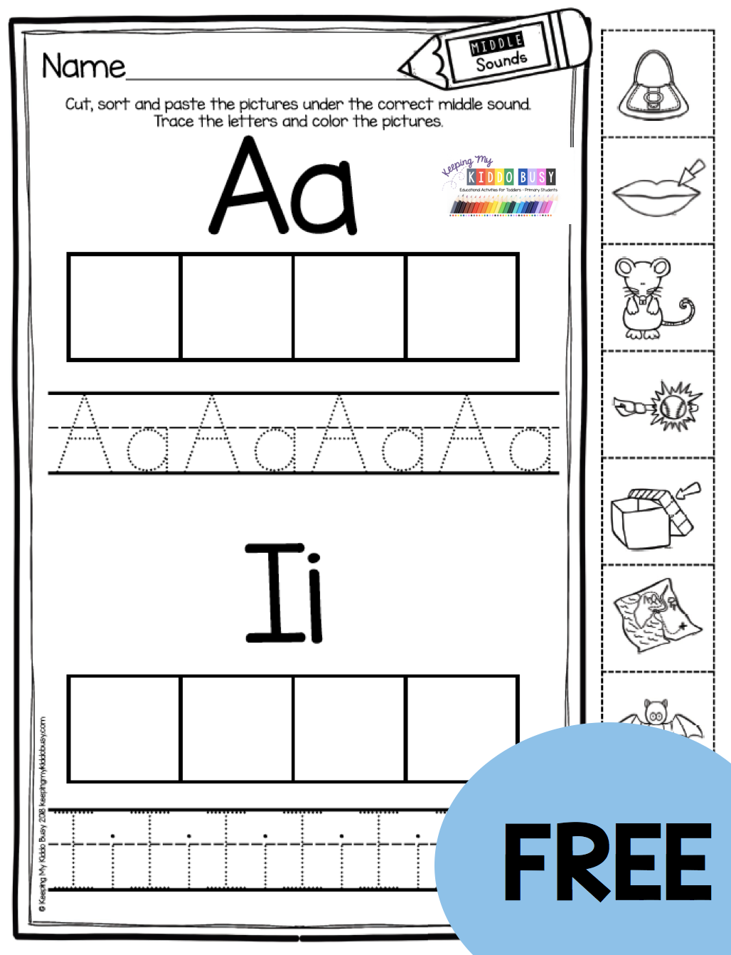 Freebie Short Vowel Sorting Worksheets