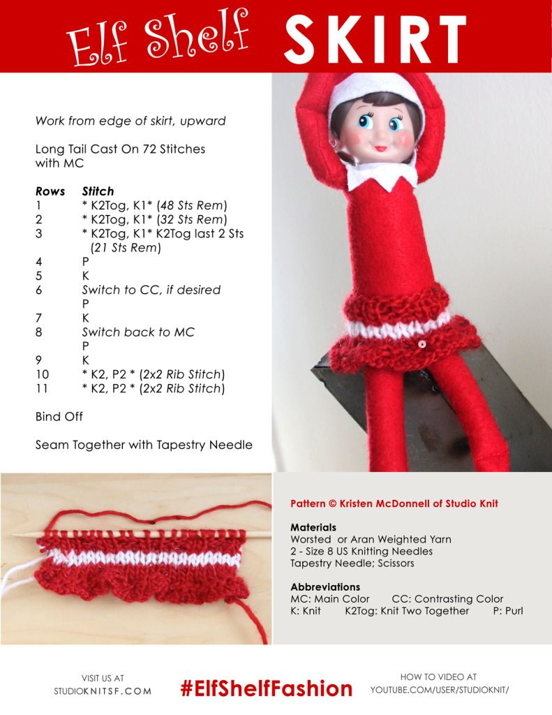Elf On The Shelf Knitting Ideas And Pattern Book By Studio Knit