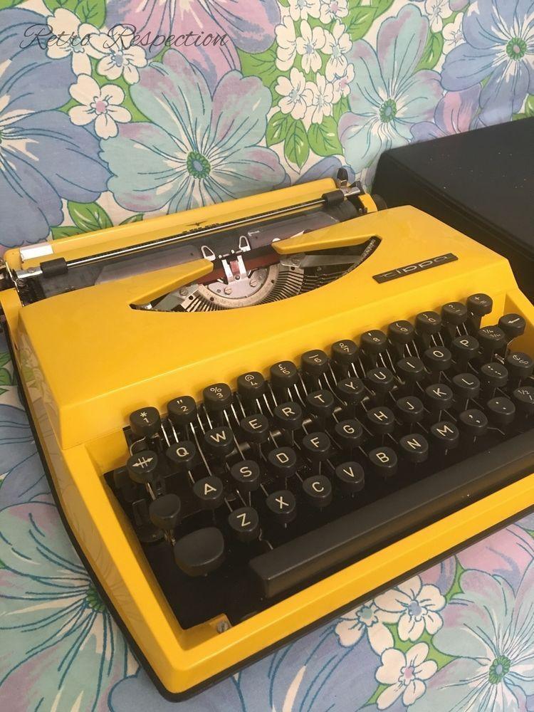 VINTAGE Typewriter - Adler Tippa Holland - Bright Yellow - GWO