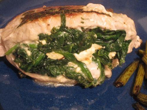 Spinach and feta stuffed pork chops