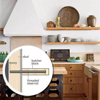 How To Make Beefy Looking Open Shelving For Everyday Dishes Out Of Butcher Block