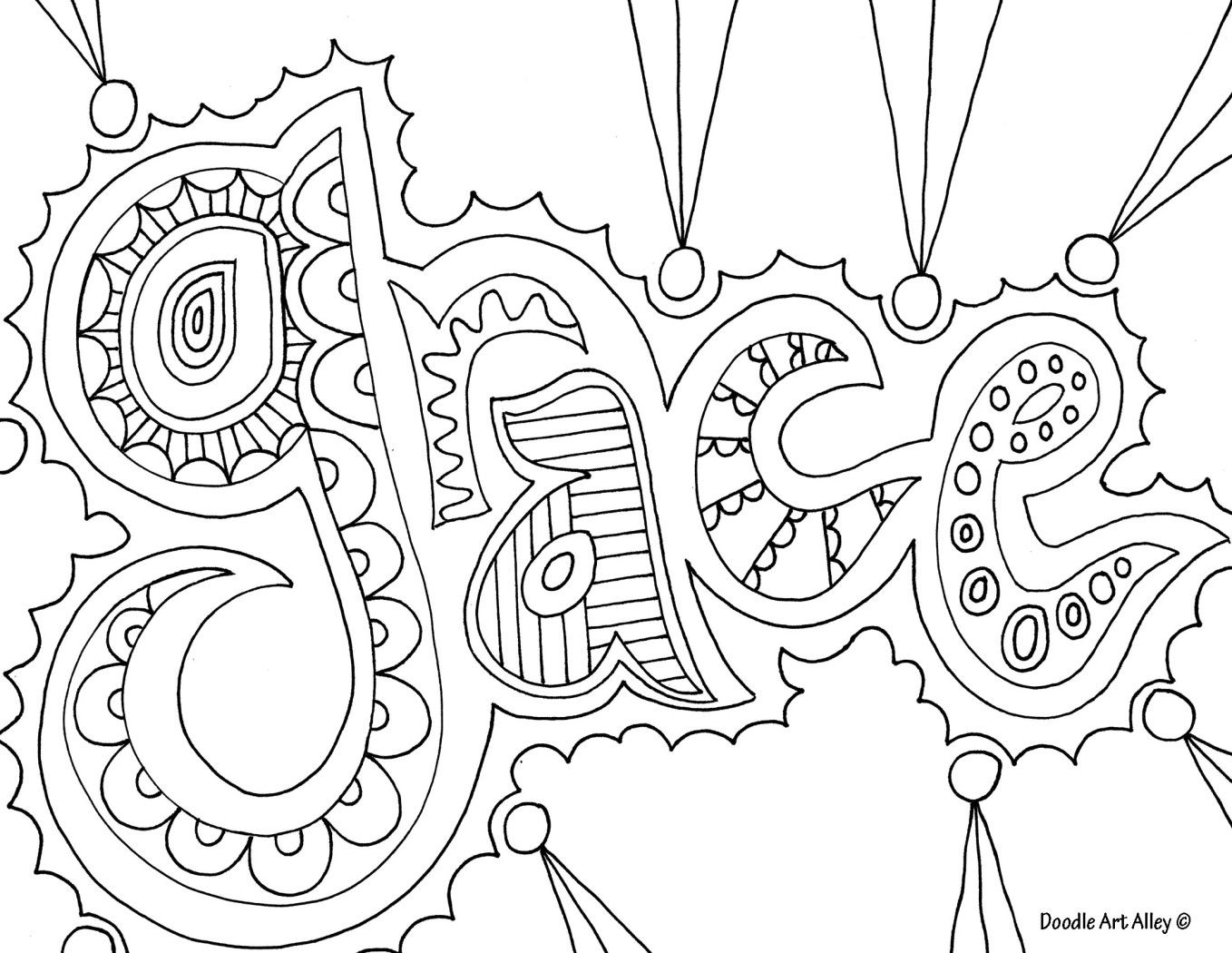 Doodle art grace nice coloring page for older kids for Names coloring pages