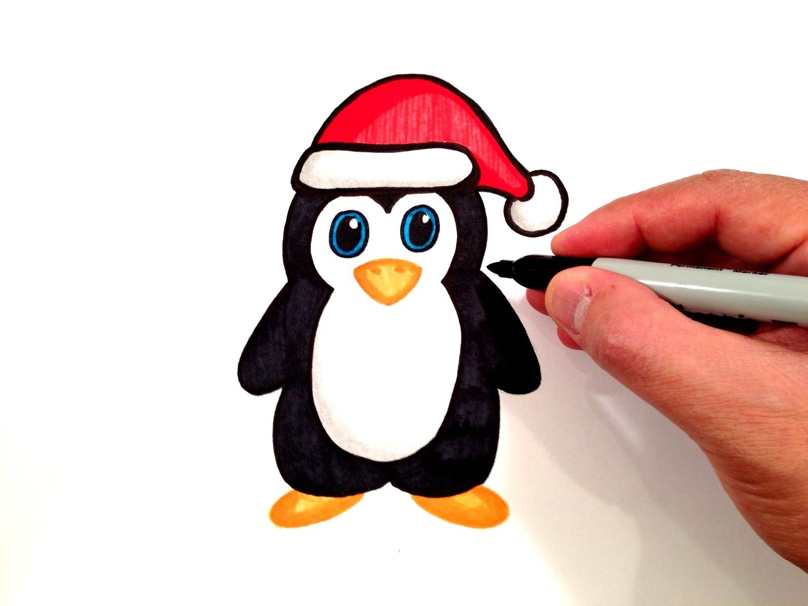 Watch How to Draw a Cute Penguin with a Santa Hat on