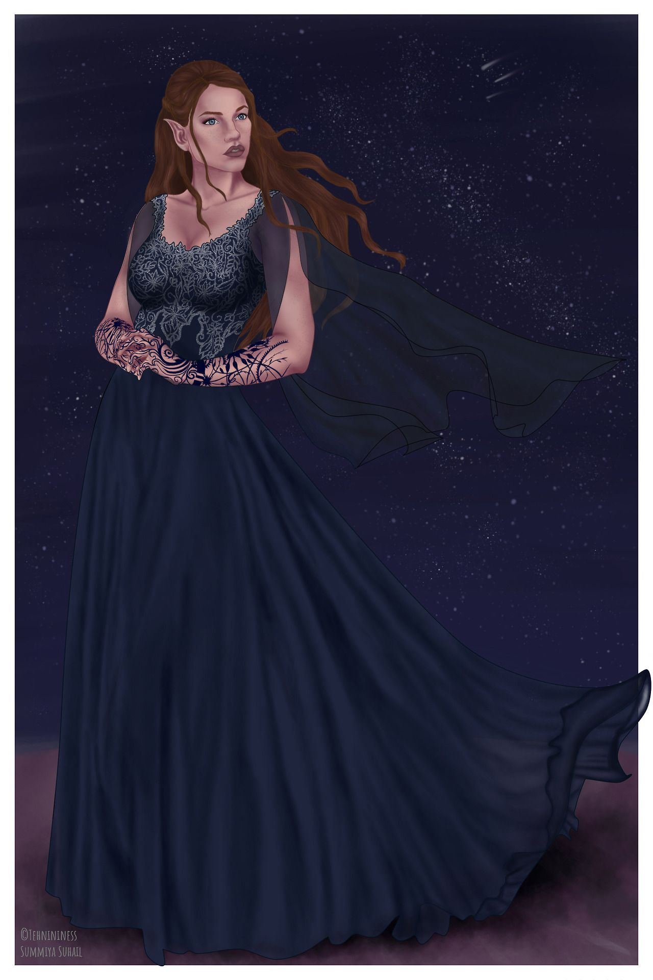 High Lady Of The Night Court Feyre Archeron Art By Tehnininess