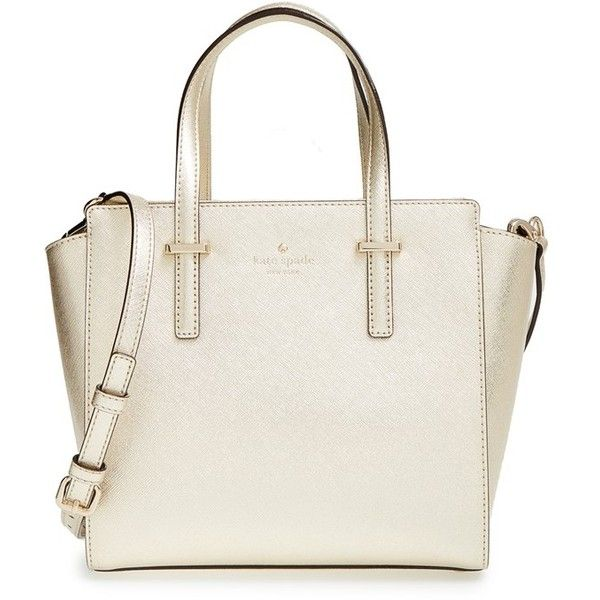 kate spade new york 'cedar street - small hayden' metallic leather... (€275) ❤ liked on Polyvore featuring bags, handbags, shoulder bags, gold, leather satchel, leather shoulder handbags, kate spade handbag, kate spade shoulder bag and leather satchel handbags