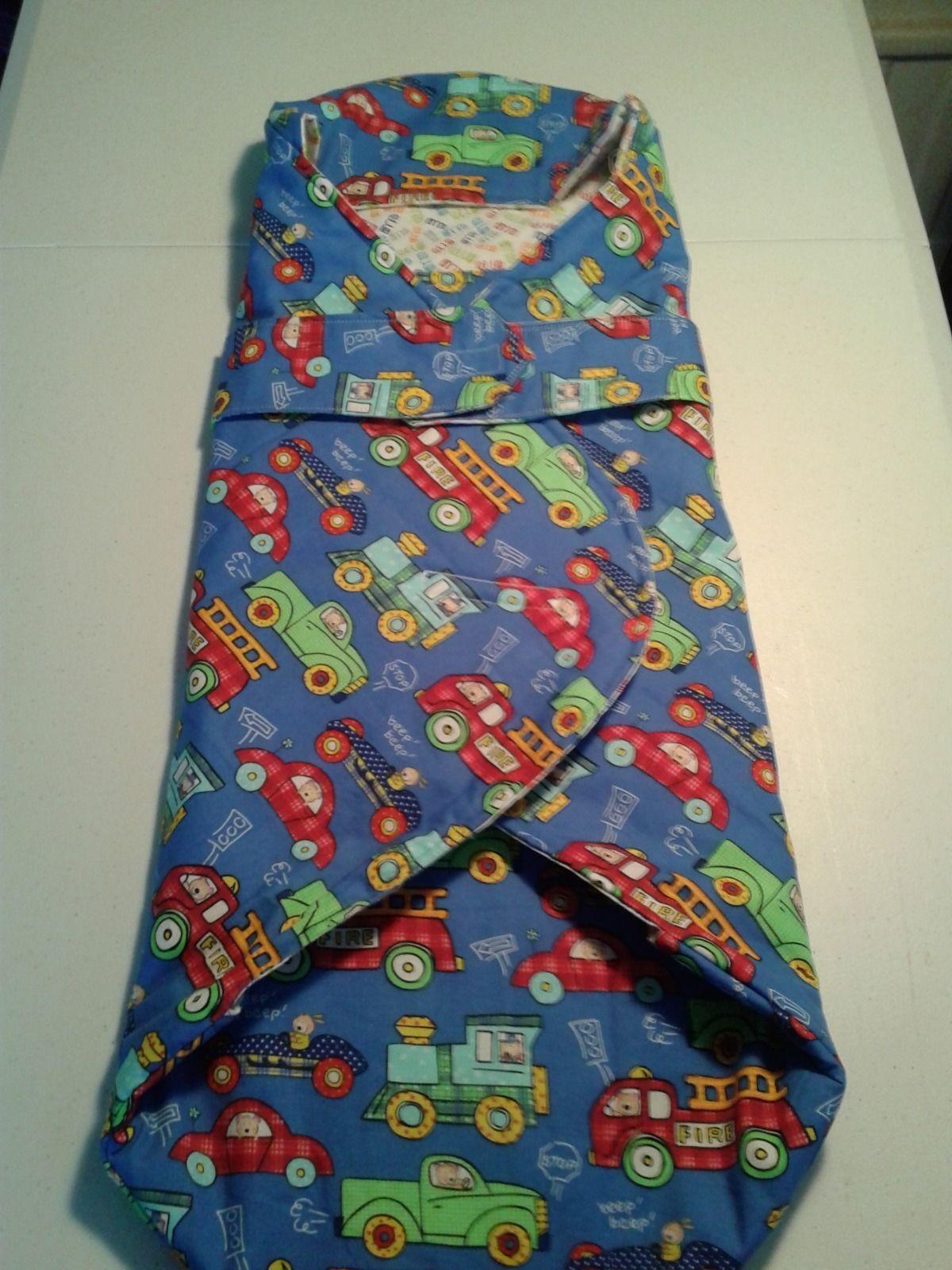 Baby swaddle blanket hood wrap cars trucks trains 0 12m reversible n adjustabl ebay