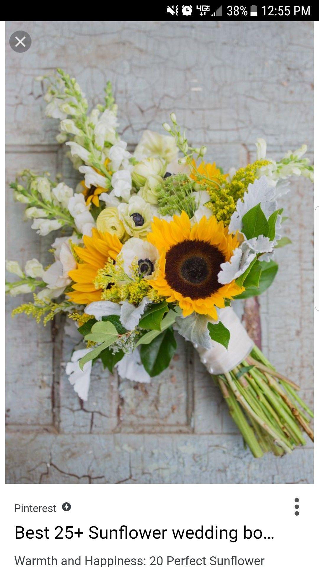 Wedding bouquets of sunflowers  Pin by Madison Terho on wedding  Pinterest  Wedding