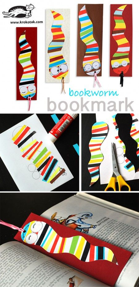 Bookworm bookmark krokotak bookmarks paper glue and for Bookworm bookmark template
