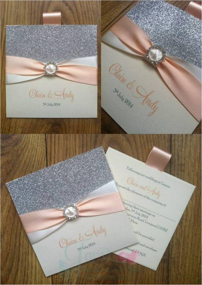 Peach and Ivory Silver Glitter Wallet Wedding Invitation  www.jenshandcraftedstationery.co.uk www.facebook.com/jenshandcraftedstationery