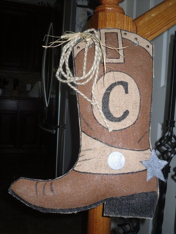 MADE TO ORDER: Cowboy Boot Burlap Door/Wall by SJStitchnStuf ...