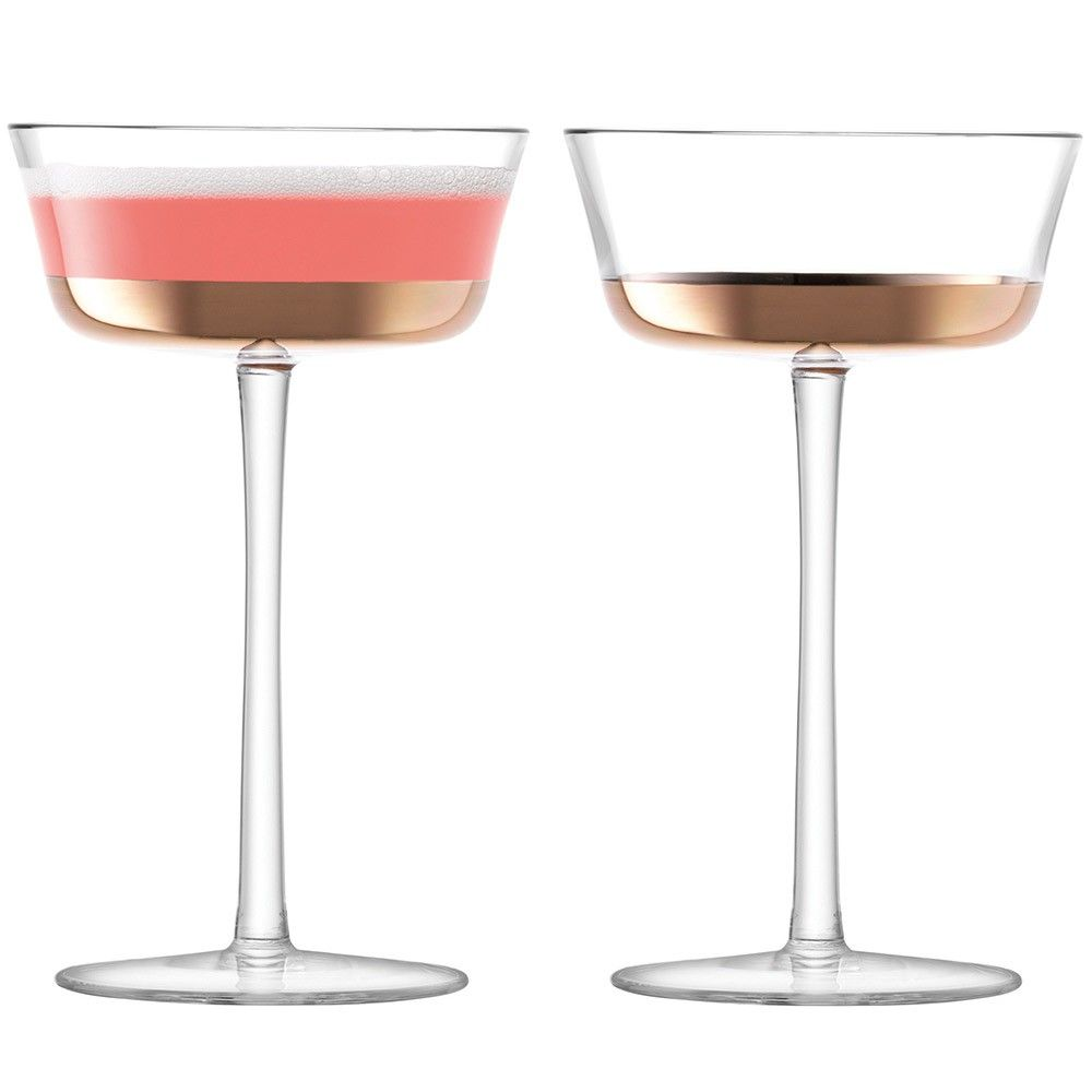 LSA+Edge+Champagne+Saucer+210ml+Set+of+2+-+Rose+Gold+-+Set+of+2+champagne+saucers+with+rose+gold+decoration. Party+in+style+with+the+LSA+Edge+Champagne+collection. Exquisitely+formed+by+skilled+glass+artisans,+this+appealing+set+of+two+champagne+saucers+are+characterised+by+their+conical+form+which+is+inspired+by+the+metallic+and+geometric+grandeur+of+the+Art+Deco+era. In+true+Art+Deco+style,+the+champagne+saucers+are+decorated+with+a+metallic+hand+painted+rose+gold+base. Tall+stems+achi...