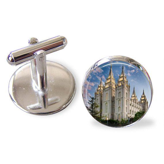 Salt Lake Temple LDS Mormon Cufflinks handmade Silverplated Cufflinks with glass top 20mm