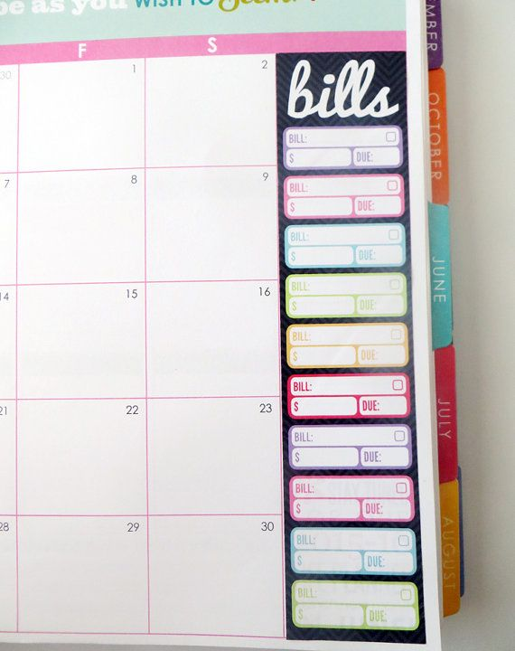 Bill Tracker Monthly Sidebar Stickers For Erin Condren Planner