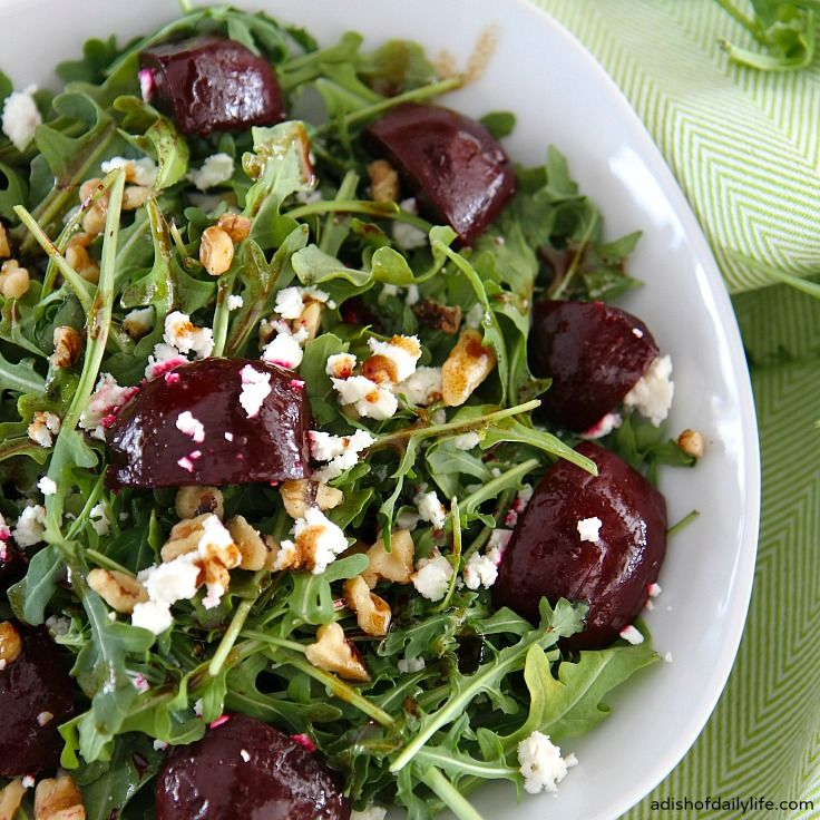 This easy, delicious Balsamic Beet Salad with Arugula, Goat Cheese and Walnuts is perfect for lunch or a light dinner. Truly a farmer's market favorite!