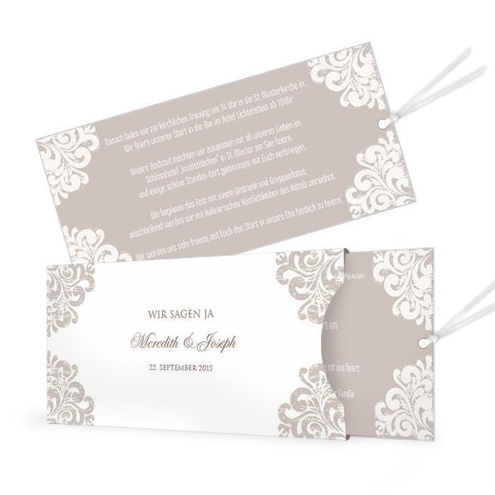 Einsteckkarte Meredith Und Joseph Taupe  Carinokarten.de   Hochzeitstorten    Pinterest   Hochzeitstorten Und Einladungen