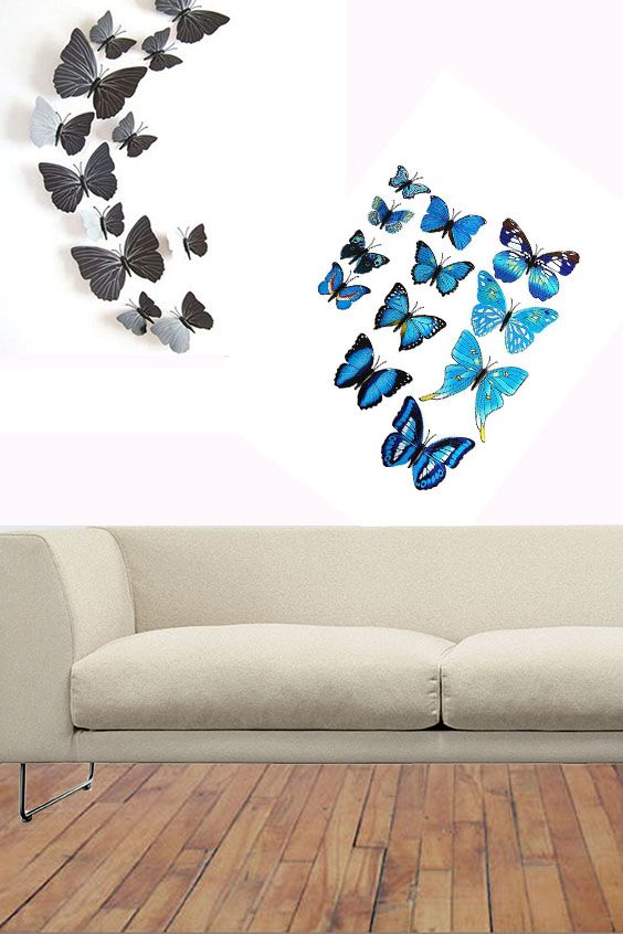3D Butterfly Wall Stickers (12 pcs) | Wall Decorations in ...