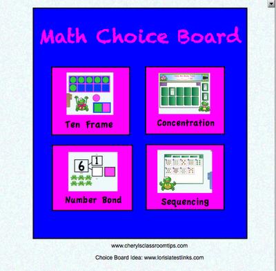 Kindergarten/First Math Choice Board Download for SMART
