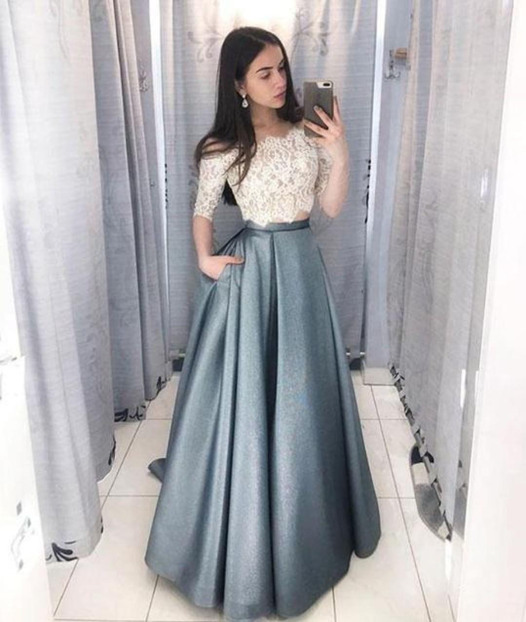 Unique lace two pieces long prom dress, lace evening dress on