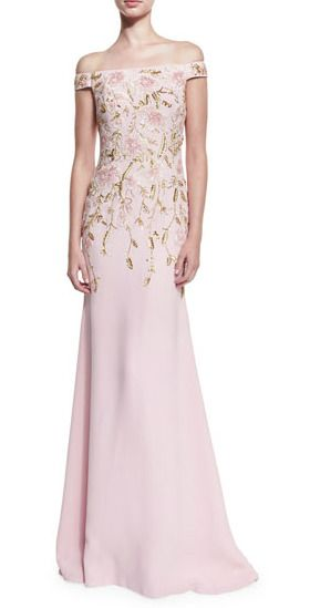 Stunning off-the-shoulder pink floral beaded gown by Naeem Khan | Found at Saks | affiliate