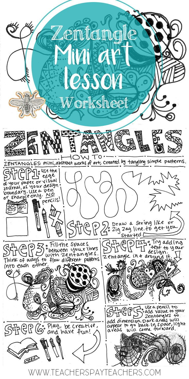 This worksheet covers the mini art lesson, zentangles. It shows ...
