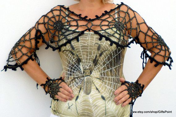 Crochet Pattern One Size Spiderweb Shawl with Mittens Halloween