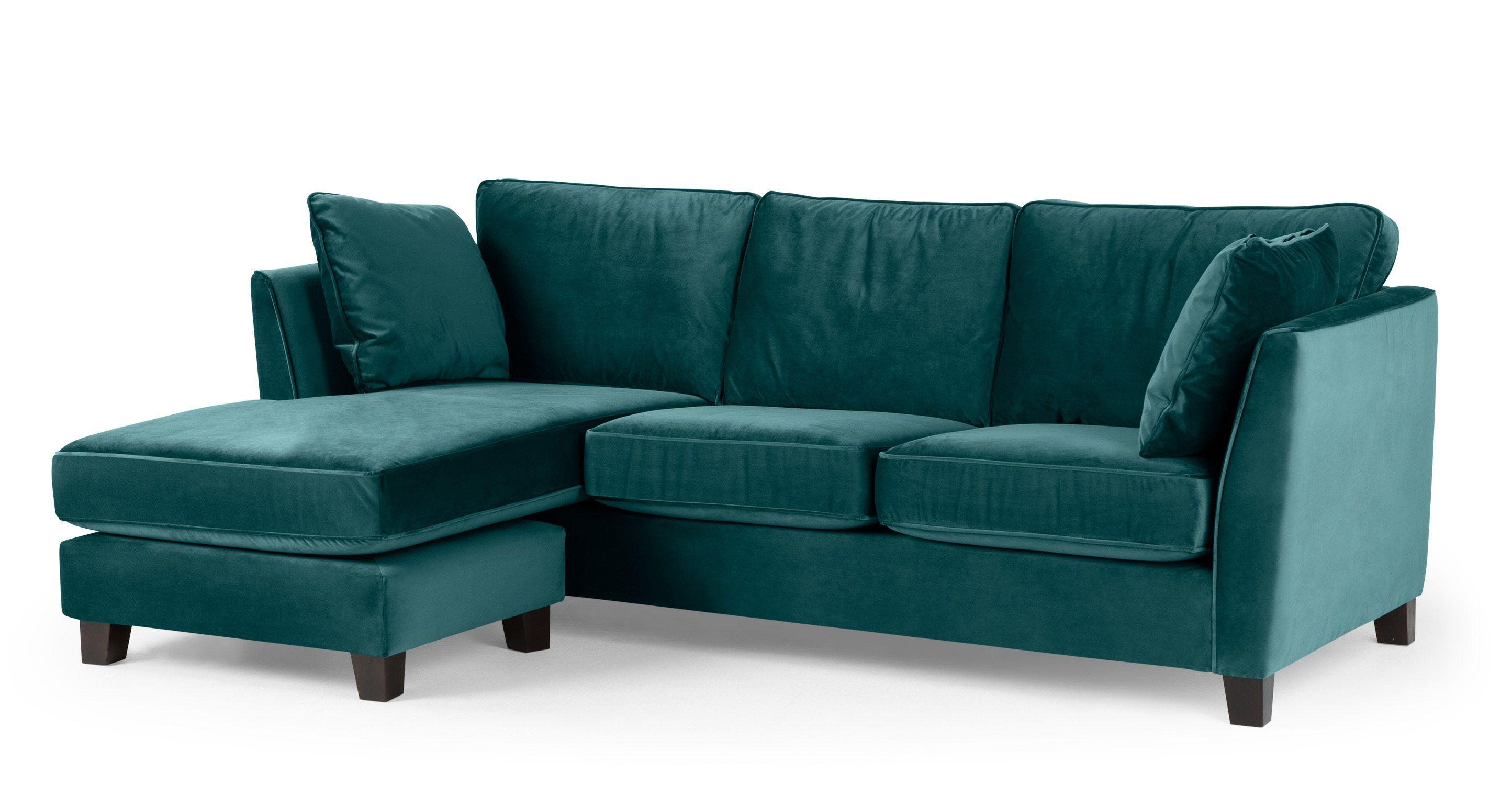 Trend Ecksofas Wolseley Ecksofa Recamiere Flexibel Samt In Pfauenblau Made Com Made Com Polyes Sofa Bed Green Corner Sofa Sofa Inspiration