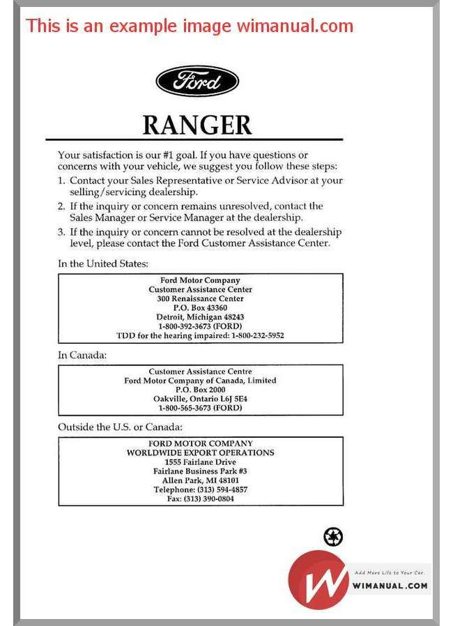 Ford Ranger 1996 Repair Manual Pdf Download This Manual Has