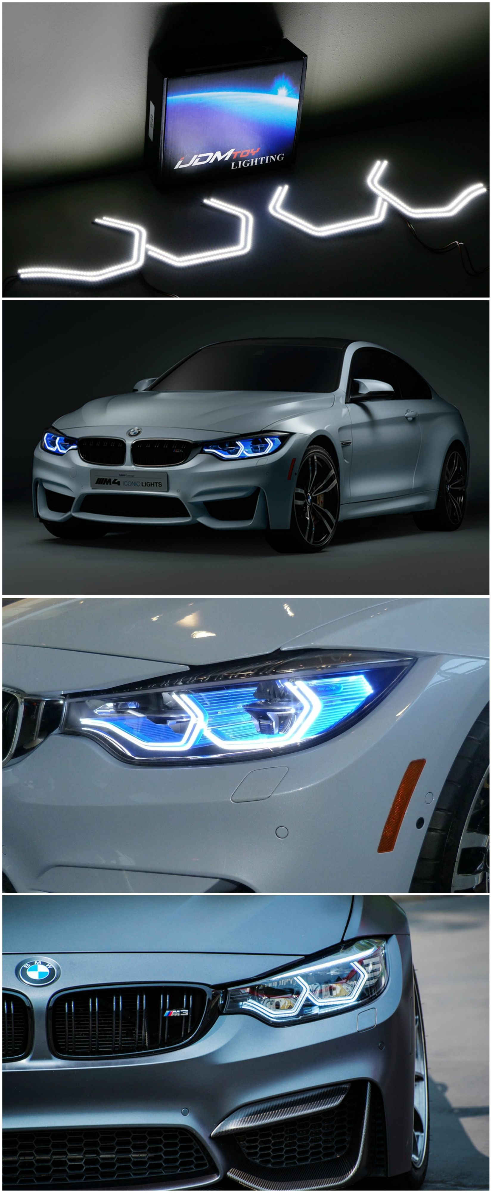 The Iconic M4 Style Angel Eye Halo Rings Is Now Available To Retrofit Onto Your Bmw S Headlights This New Dynamic And Edgy Look Wil Bmw Angel Eyes Style Icons