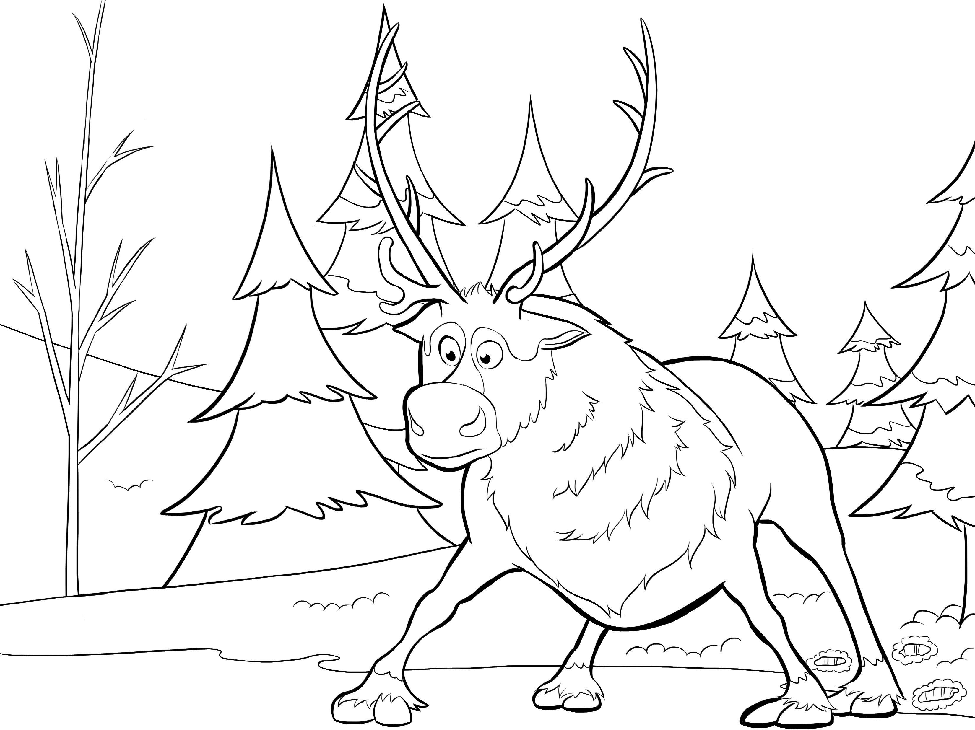 Kristoff and Svin the reindeer coloring page
