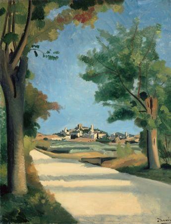 Voici une autre vue du village d'Eygalières réalisée par André DERAIN (1880-1954) lors d'un séjour en Provence en 1932. Celle intitulée La Route montre le village se détachant au-dessus de la route qui mène d'Eygalières à Saint-Rémy-de-Provence.