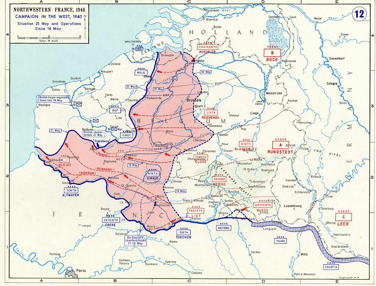 Map Noting German Advances In France And The Low Countries Between - Us map ww2