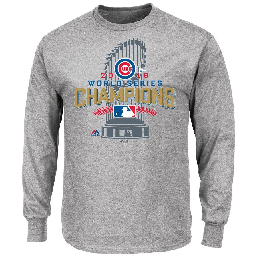 ae9beca23 Men s Chicago Cubs Majestic Gray 2016 World Series Champions Locker Room  Long Sleeve T-Shirt