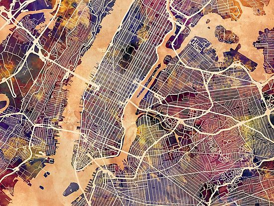 a watercolour street map of manhattan new york city also buy this artwork on wall prints apparel phone cases and more
