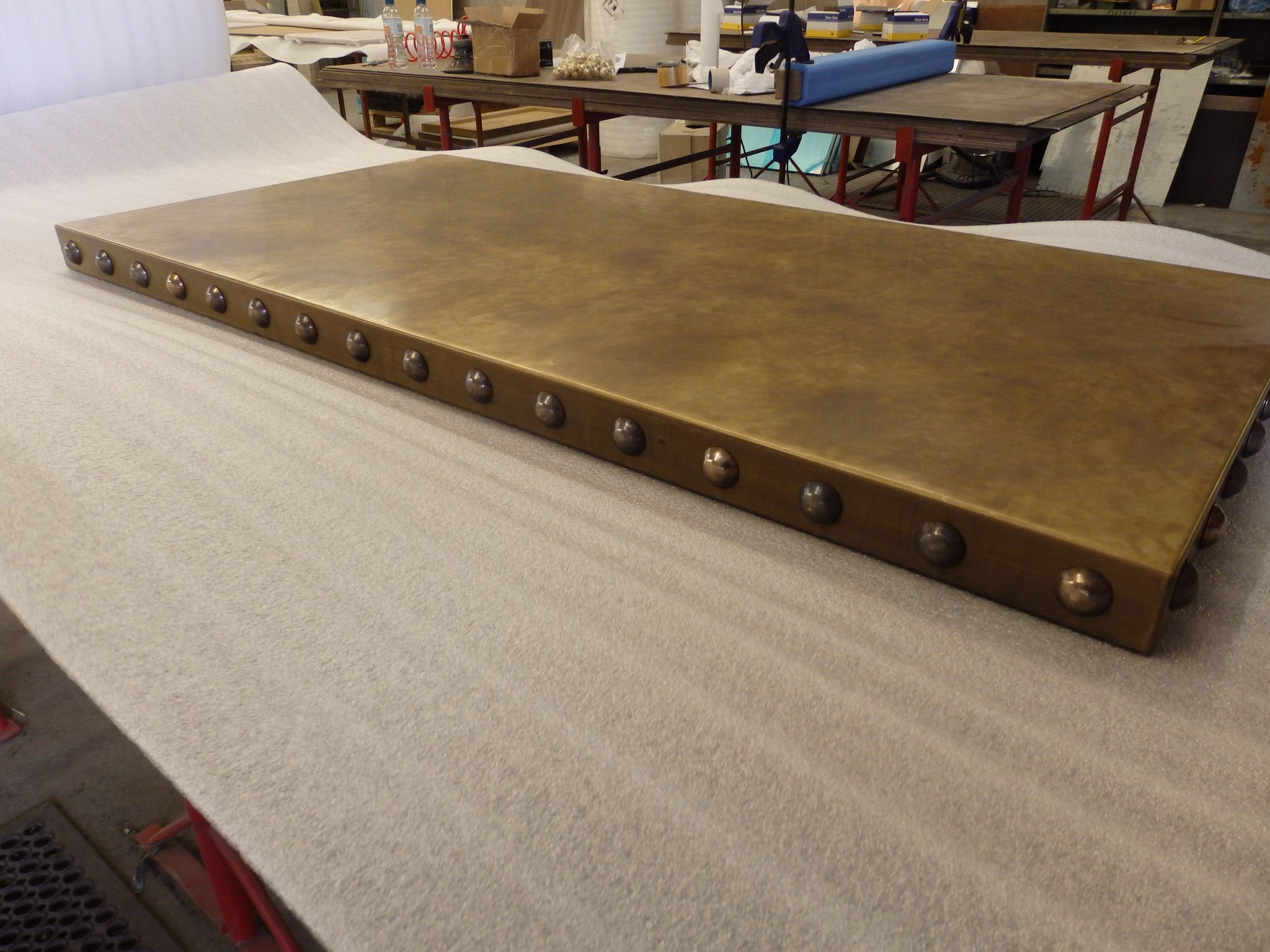 147 Aged Brass Table Top With Antique Brass Domed Studs Brass