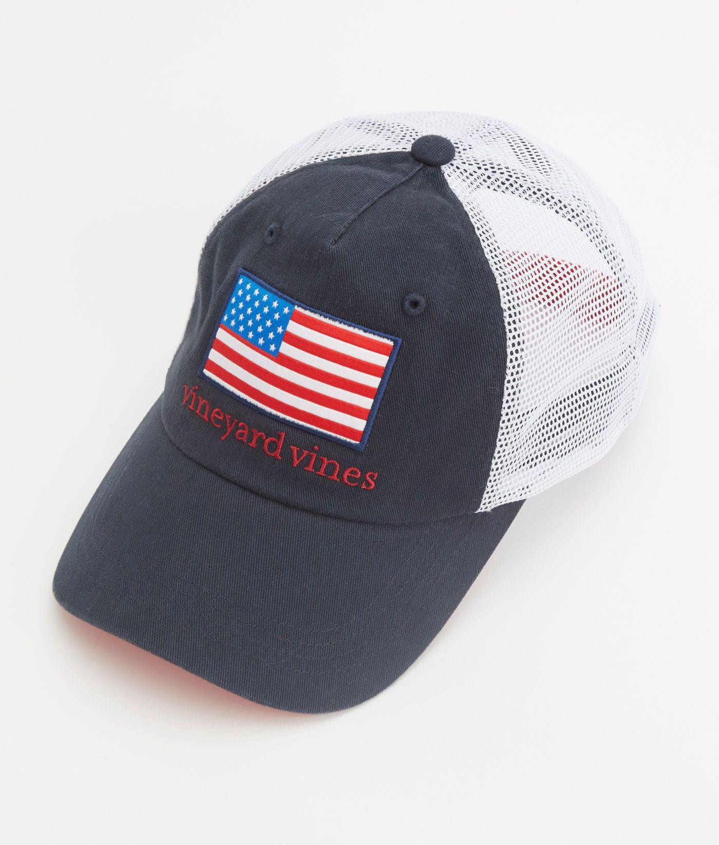 68b5b90e Shop American Flag Patch Trucker Hat at vineyard vines | Things to ...