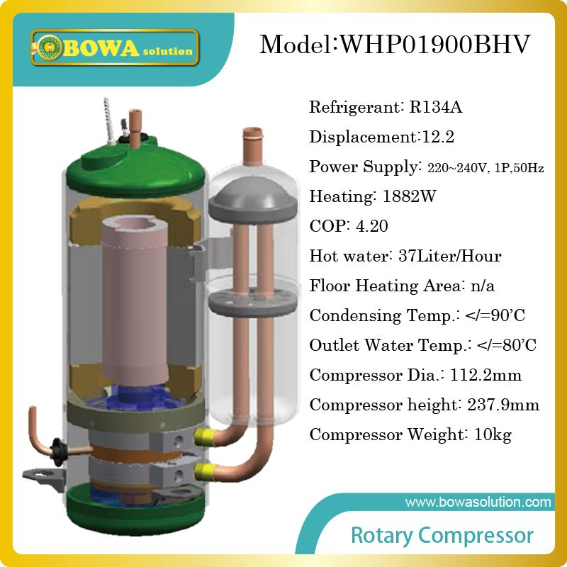 1882w Heating Capacity R134a Compressor For 37liter High