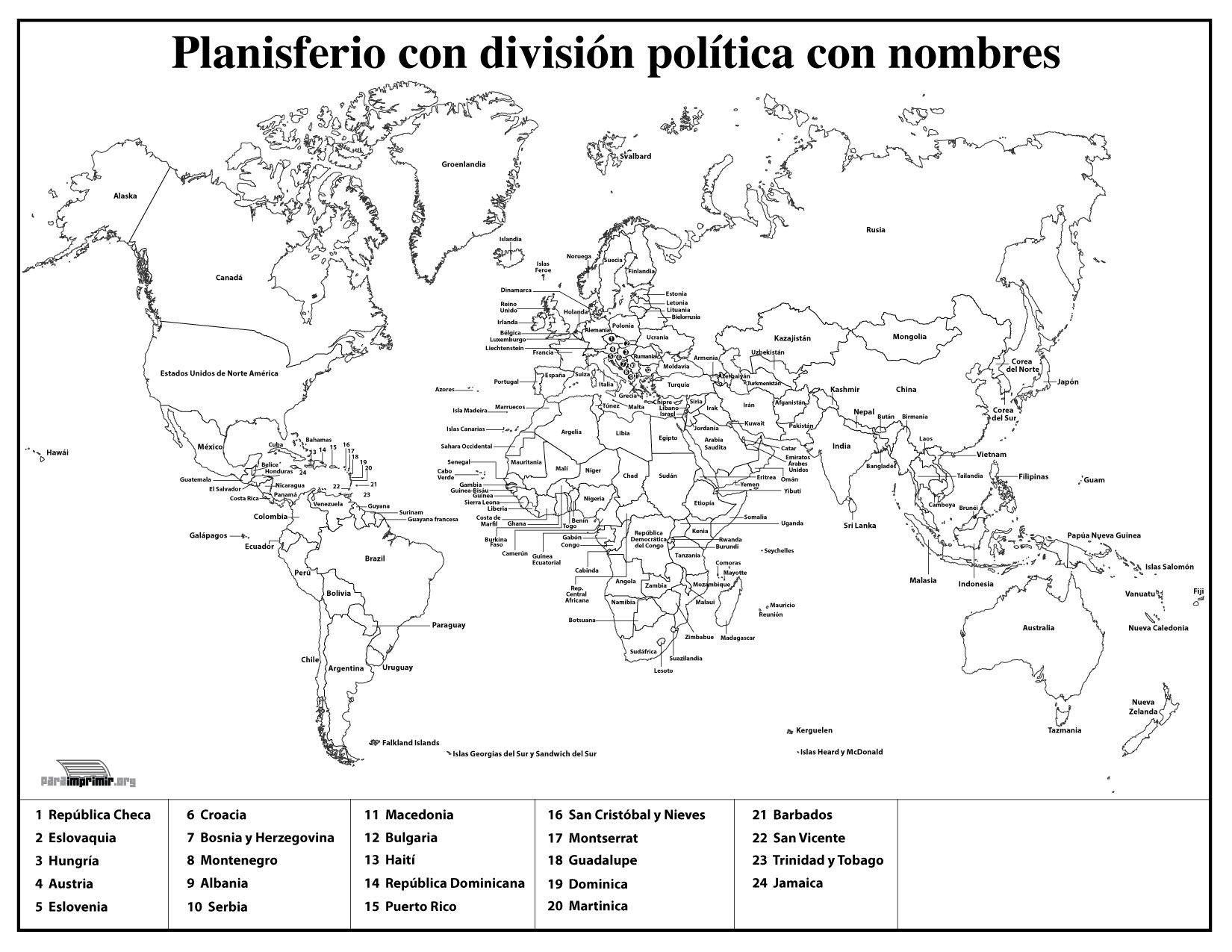 Mapamundi Con División Política Con Nombres Para Imprimir - Mapa ...