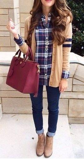 #teen. fall style. plaid. skinny jeans. ankle boots. Love fall so much.