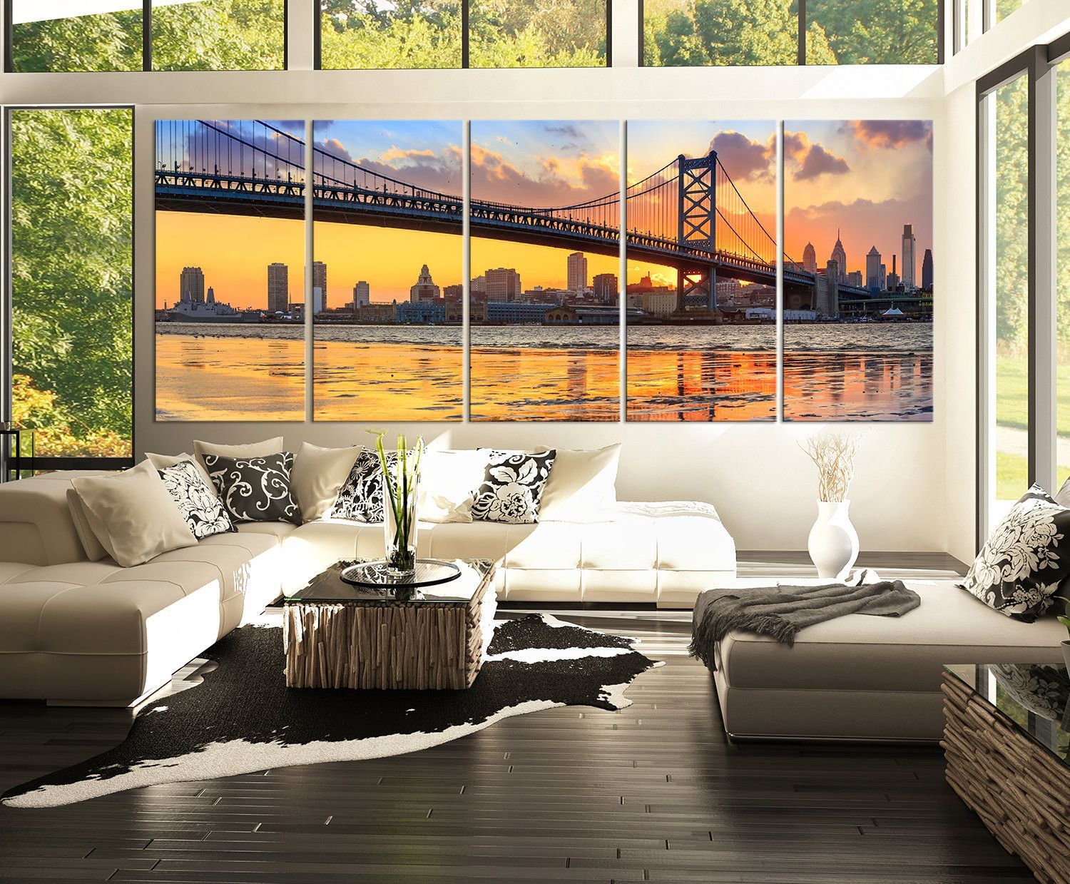 Extra Large Wall Art Canvas Print Ben Franklin Bridge And Philadelphia Skyline By Night Large Canvas Wall Art Extra Large Wall Art Philadelphia Canvas Art
