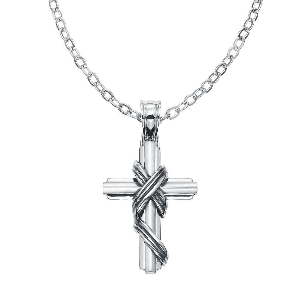 Axl by triton stainless steel textured cross pendant necklace men
