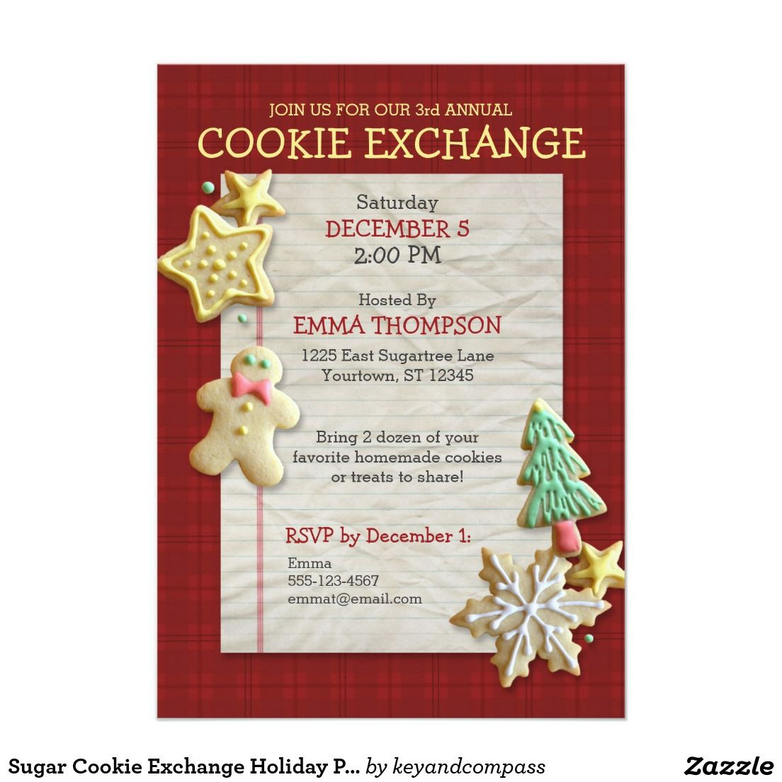 Sugar Cookie Exchange Holiday Party Invitation | Holiday party ...