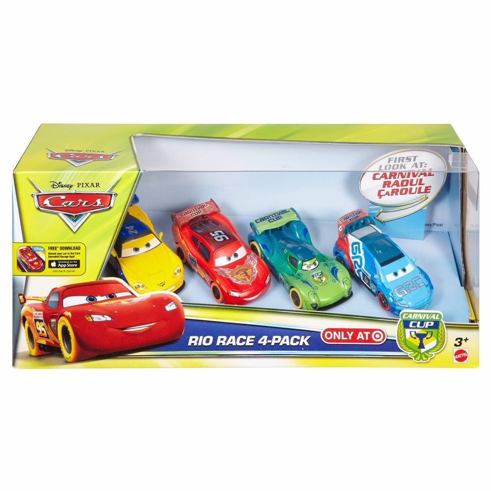 Disney Cars Carnival Cup Rio Race 4 Pack Raoul Caroule Mcqueen