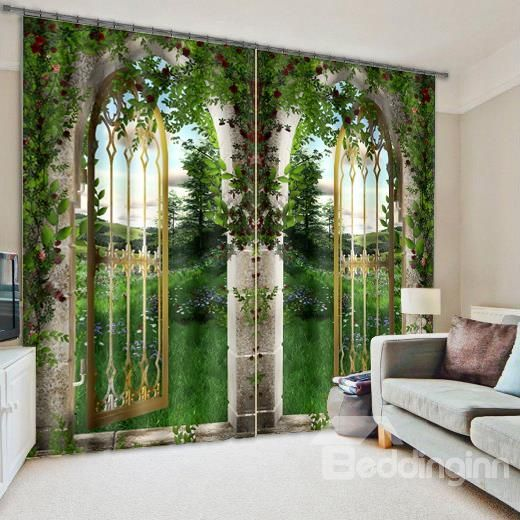 3D Arched Doors with Flowers and Grasses Printed Natural Scenery Decoration  and Blackout Curtain