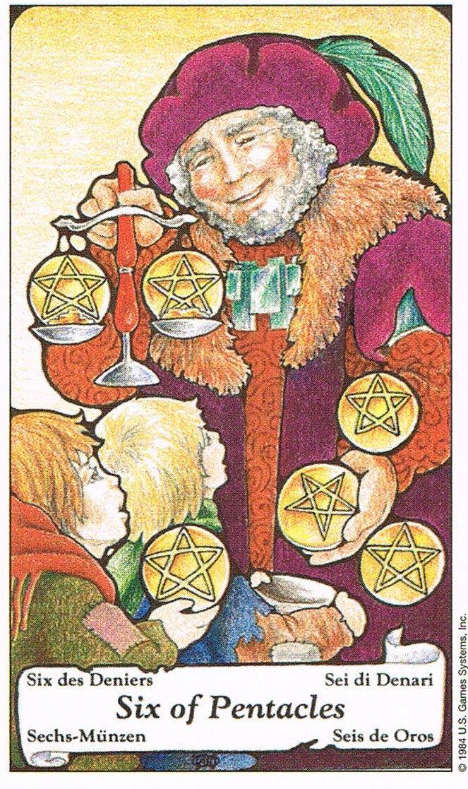 Six Of Pentacles Hanson Roberts Tarot Tarot Cards Tarot Tarot